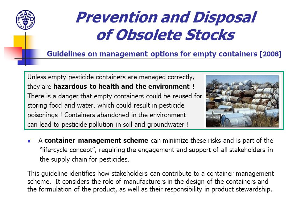 Prevention and Disposal of Obsolete Stocks Guidelines on management options for empty containers [2008]